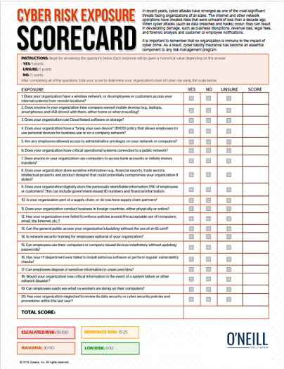 Cyber Risk Exposure Scorecard